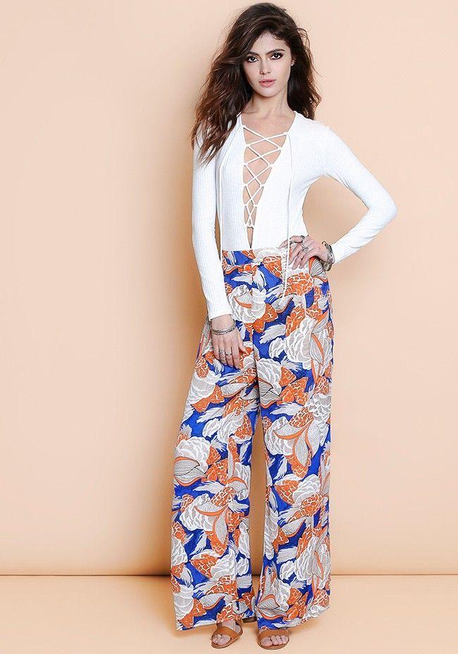 nueva estilos 8c1bf 818ff Look con pantalones estampados anchos | outfit | Pantalones ...