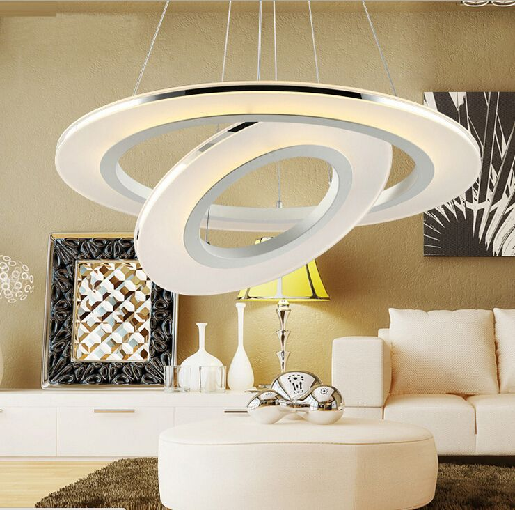 Modern Led Round Acrylic Chandelier Creative Living Room Lobby