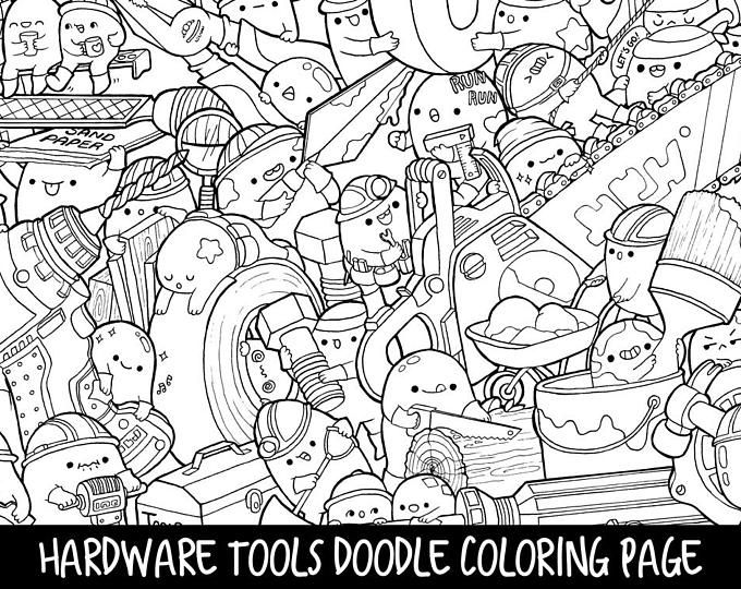 Hardware Tools Doodle Coloring Page Printable | Cute/Kawaii Coloring Page  For Kids And Adults
