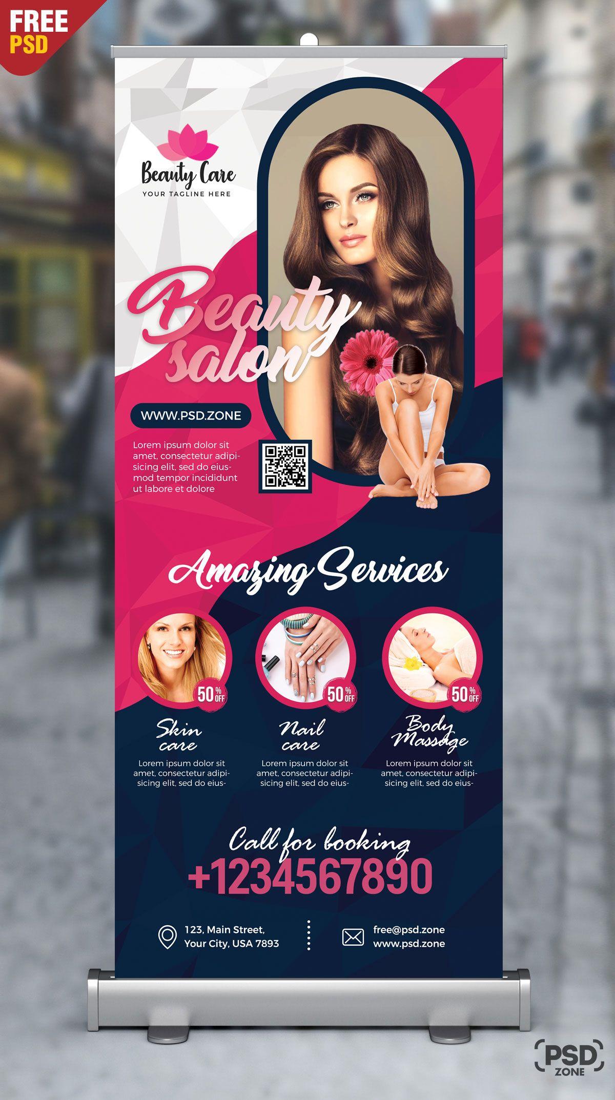Beauty Salon Roll Up Banner Psd Psd Zone Beauty Salon Posters Beauty Salon Logo Beauty Salon Design