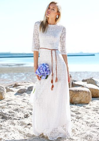 Lace White Elbow Length Sleeve Maxi Dress Modest White Dress All