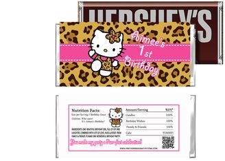 Hello Kitty Leopard Print Birthday Candy Bar Wrappers - Hello Kitty Birthday Supplies