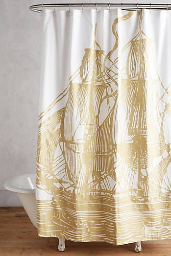 Love Me A Good Cutter Ship Golden Ship Shower Curtain