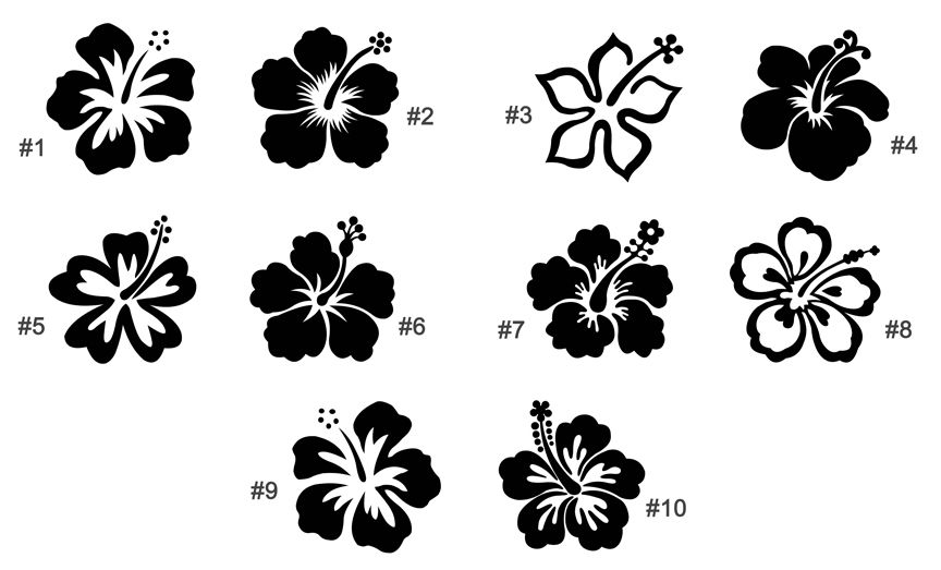 Vinyl Decals And Shapes Car Vinyl Hibiscus Flower Tattoos Hawaiian Flower Tattoos Hawaii Tattoos