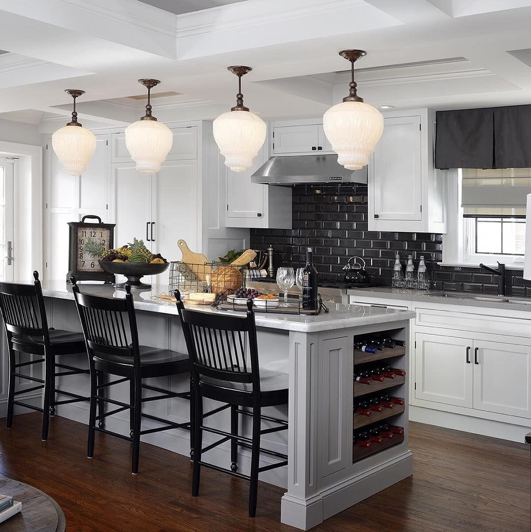 Light Grey Kitchen, Black Tiled Splashback Tiles, Heavenly