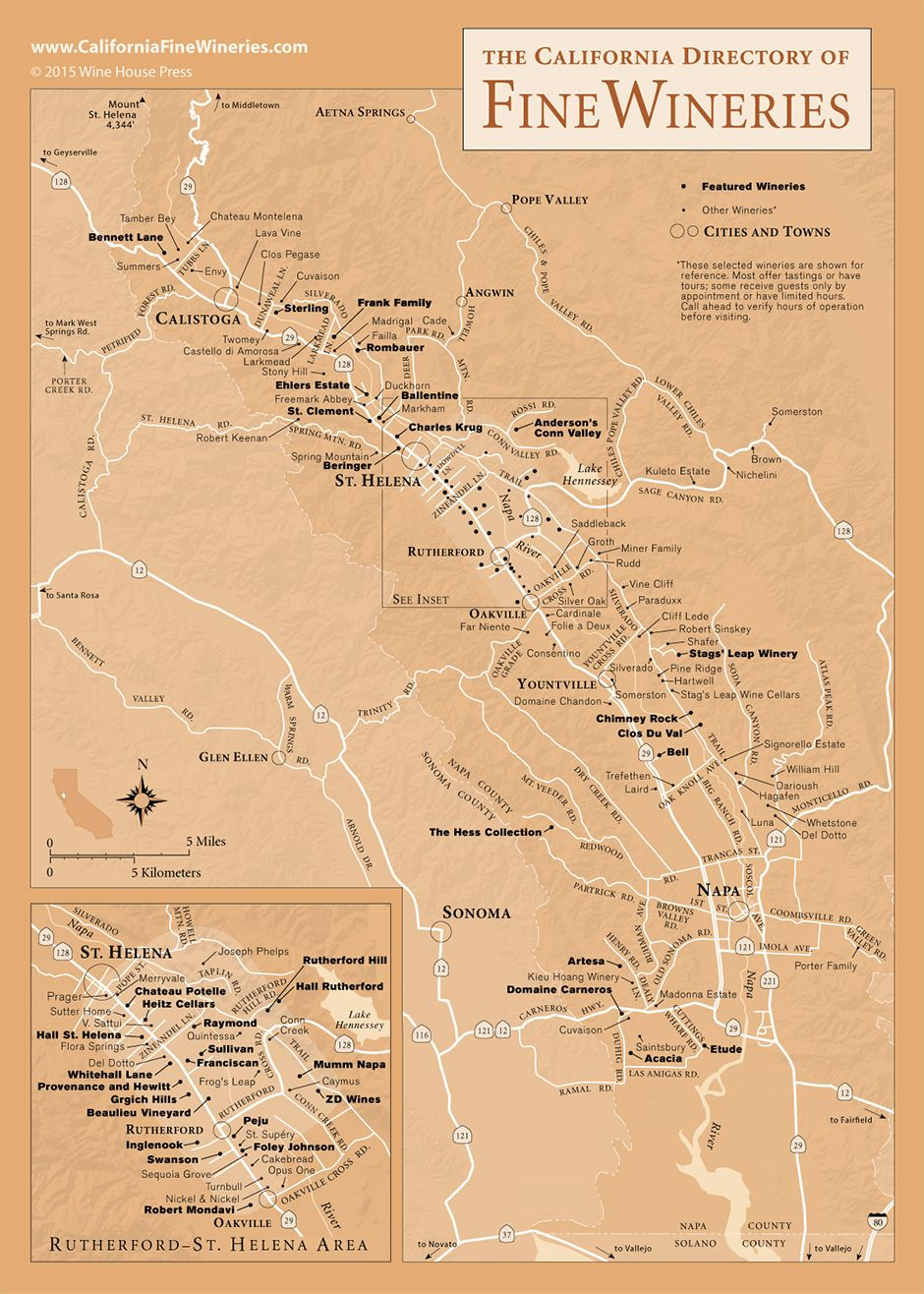 Napa Valley Wineries And Tasting Rooms Map Full HD MAPS Locations - Napa valley winery map and trip planner