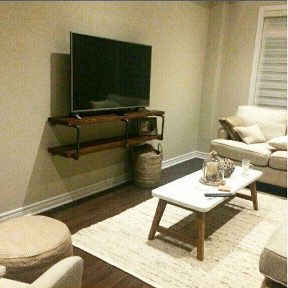 rustic industrial tv stand pipe wall shelf entertainment rh pinterest com
