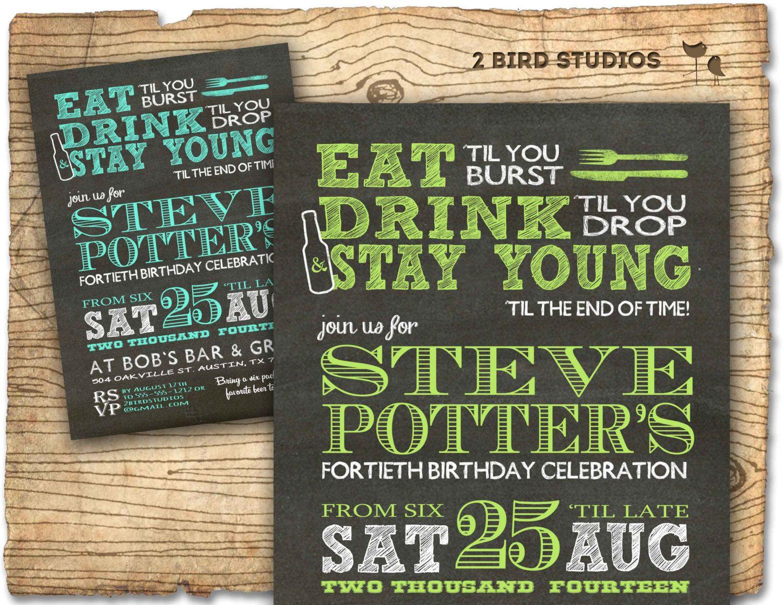 birthday party invitations printable%0A   th birthday Party Invitation   invite   th par  birdstudios