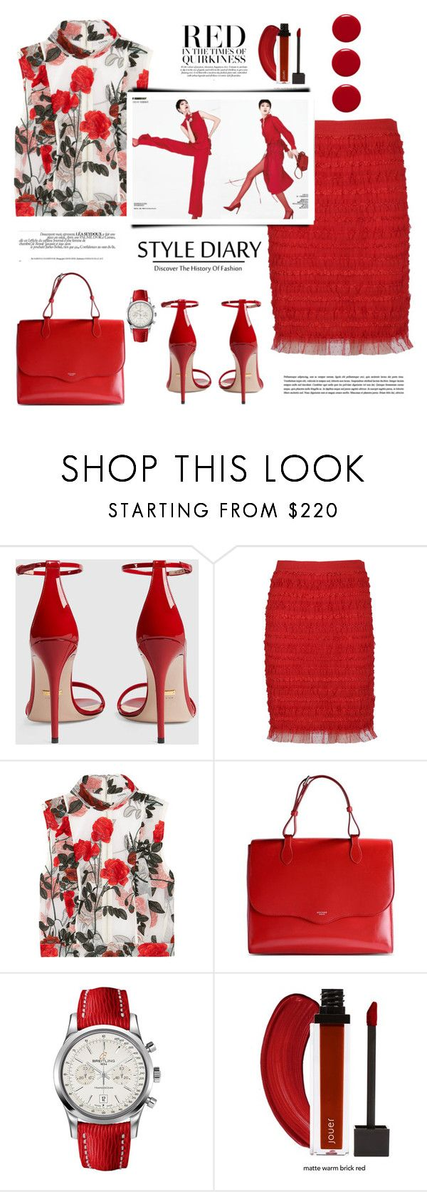 """""""Red"""" by terry-tlc ❤ liked on Polyvore featuring Gucci, Givenchy, Ganni, Rochas, Breitling, Spring, fashionset and polyvoreeditorial"""