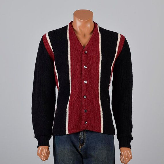 Vintage 50s Burgundy Black Button Up V Neck Cardigan Sweater Knit ...