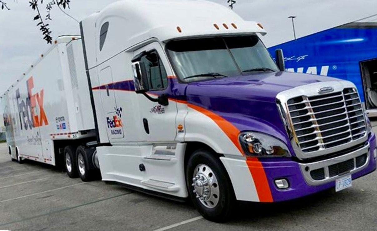 Fedex Hauler Transporter Freightliner Cascadia Nascar Toyota Camiones Freightliner Camiones Personalizados Camiones
