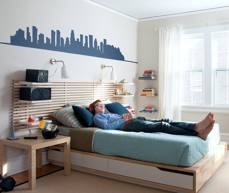 With Its Ikea Furniture And Simple Graphic Stencil Over The Bed