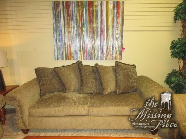 h m richards pillowback sofa in an olive upholstery with rolled rh pinterest com