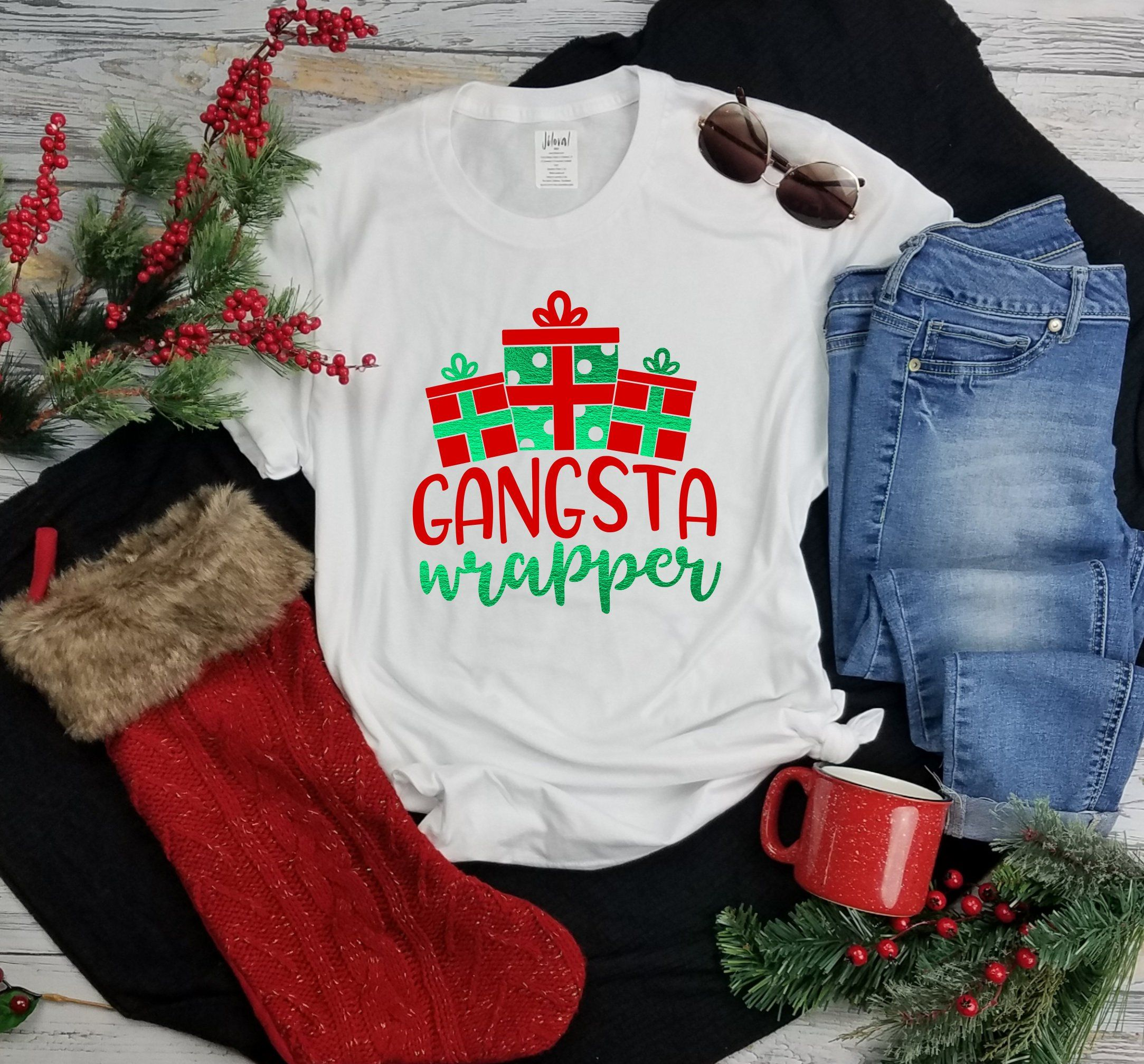 5c23b99c79 Gangsta Wrapper, Funny Holiday shirt, Christmas Tshirt, Graphic shirt, Gift  for mom, Gifts under 20, Festive shirt, gift wrapping, Humor by  JilovalBrand on ...