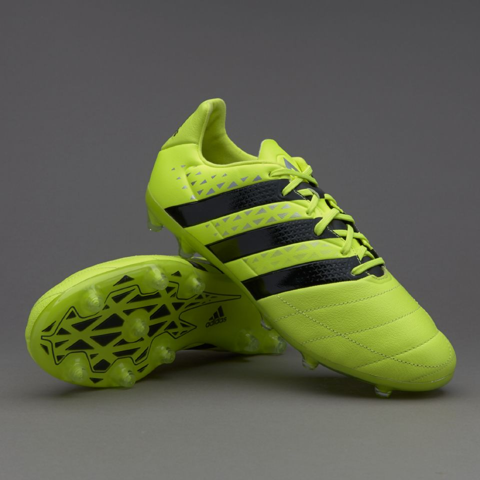 online store ac359 c3ce7 adidas ACE 16.2 FG AG Leather - Solar Yellow Core Black Silver Metallic