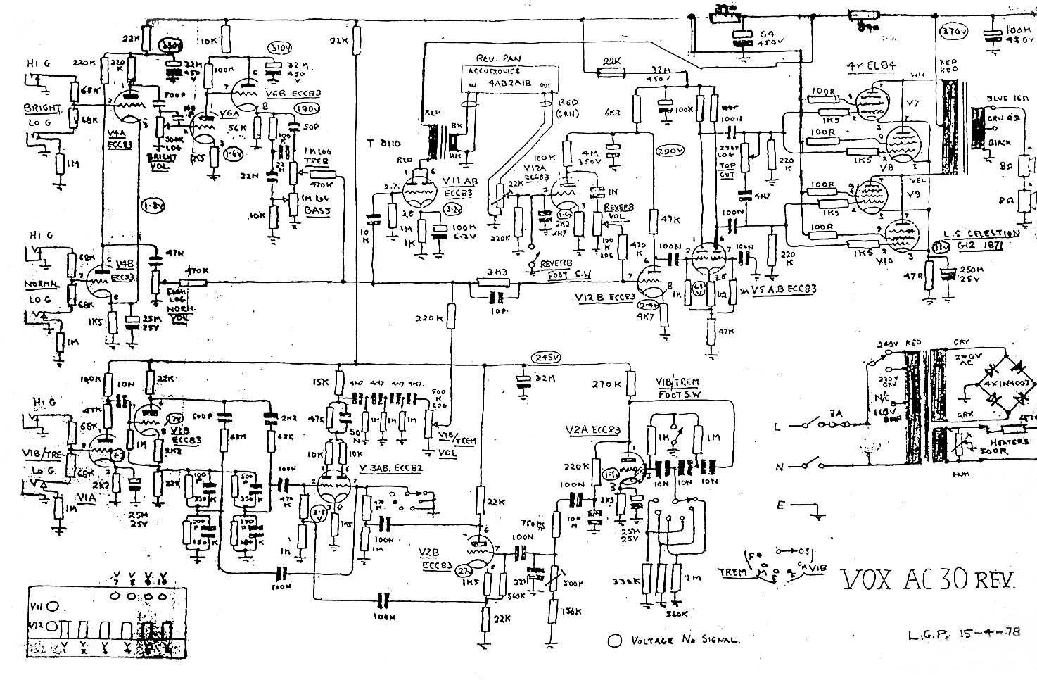 Vox AC30 Combo Amp Wiring Diagram | Circuit diagram, Diagram, Vox | Vox Amp Schematic |  | Pinterest