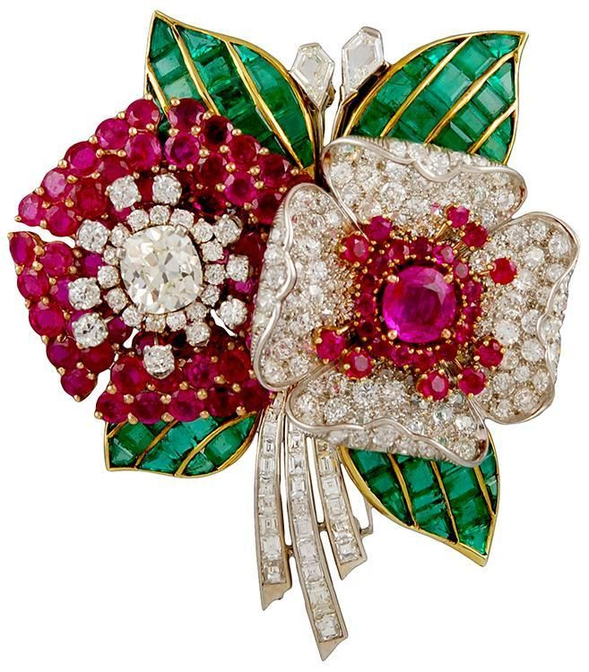 Art Deco Diamond,Ruby & Emerald Flower Brooch from…
