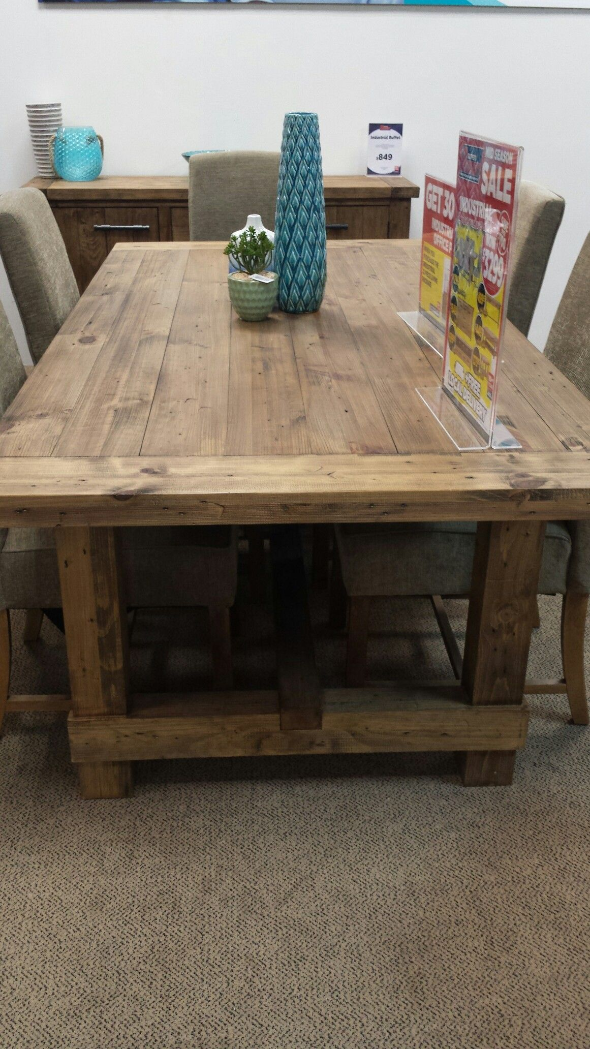 Super Amart Industrial Dining Table Wood Carving Furniture