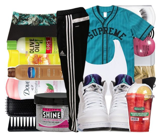 """""""Supreme"""" by trill-queen478 ❤ liked on Polyvore featuring Eos, MAC Cosmetics, HUF, GHD, RéVive, Smooth 'N Shine Polishing, adidas and Retrò"""