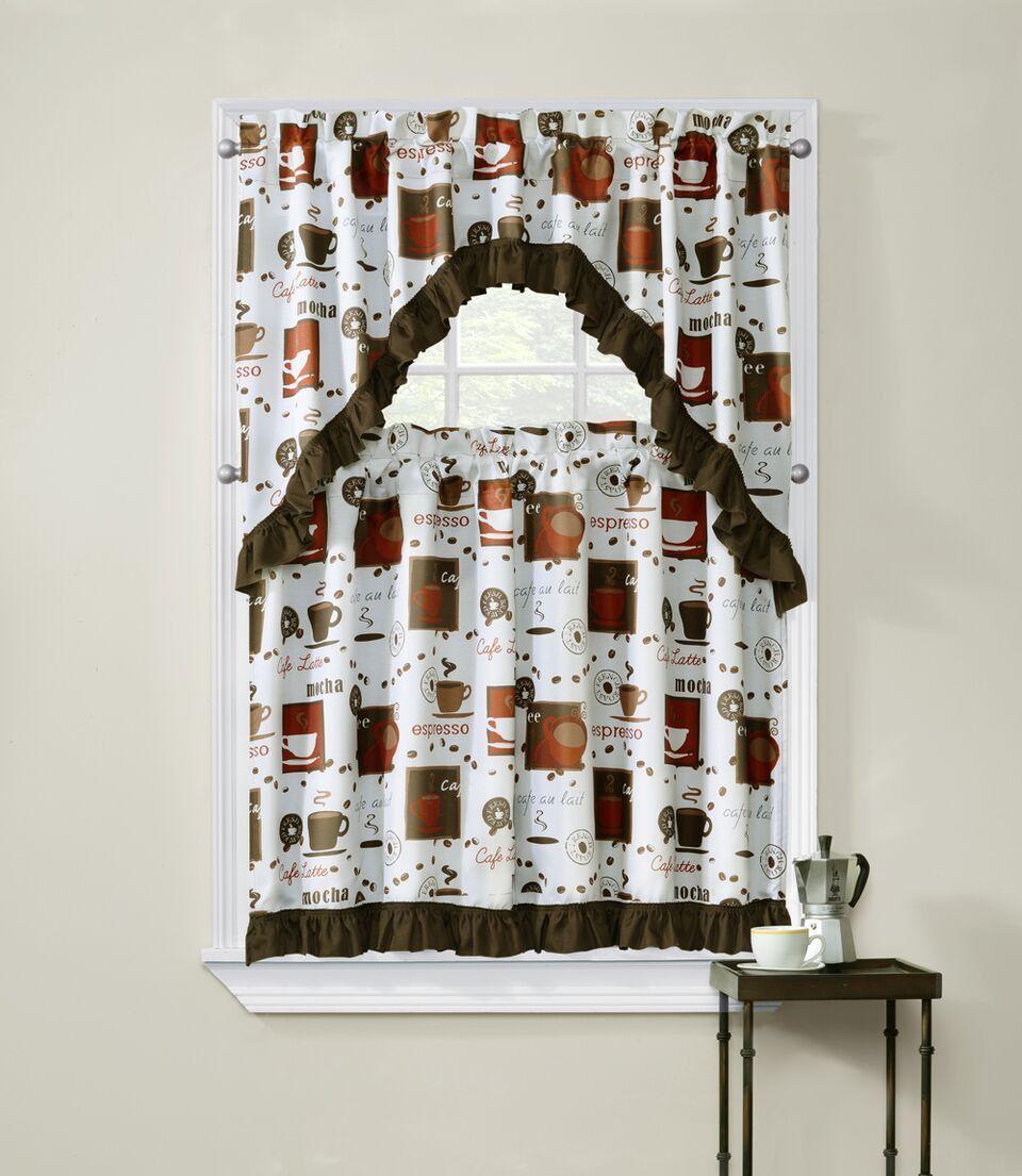 Cappuccino 3 Piece Kitchen Curtain Window Set
