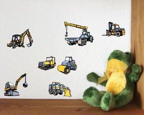 Ideal  teiliges Bagger und Baumaschinen Set Wandtattoo teiliges Bagger und Baumaschinen Wandtattoo
