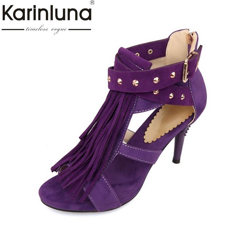 KARINLUNA 4 colors Black Red Sexy Women Tassel Sandals Blue Purple Ladies High HeelS Rivets Shoes Woman Plus Big Size 32-43
