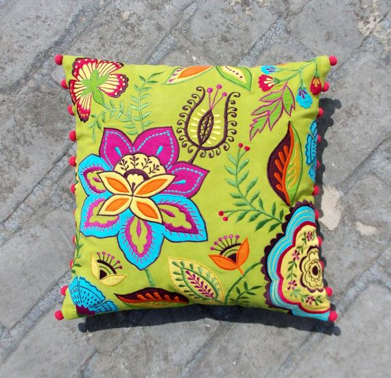 Green Floral  embroidered cushions, cotton pillow, pompom pillow, 16X16 pillow cover.