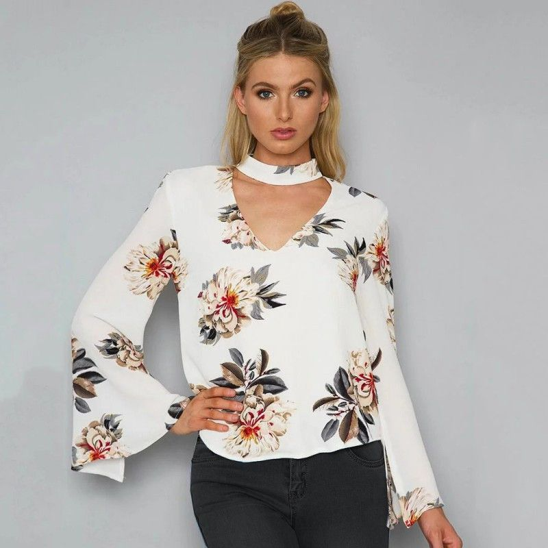 c1a675a1ac1eef Summer Autumn Blouses 2017 Sexy Halter V Neck Loose Long Flare Sleeve White  Blouse Shirt Print