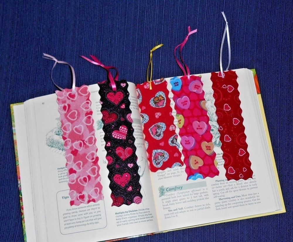Cloth or Fabric Bookmark Handmade VALENTINE or