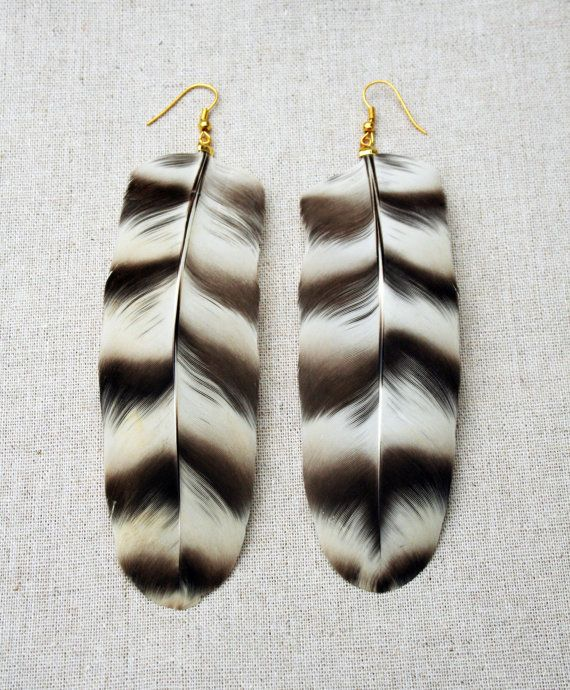 large black and white rooster feather earrings by minorfragment