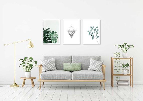 Set Of Three Printable Plant Poster Gallery Wall Geometric Plant