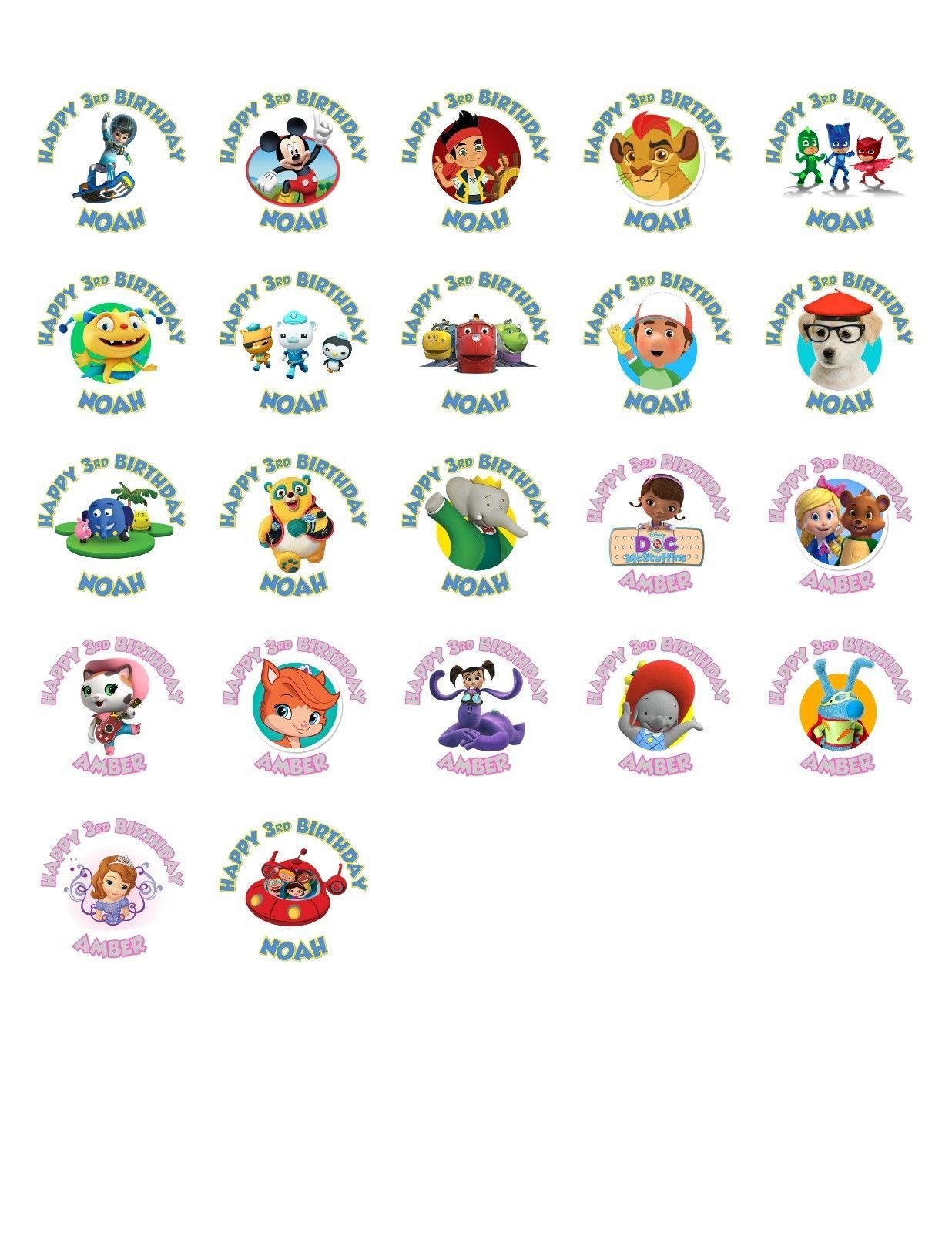 30 Disney Jr Birthday Stickers Lollipop Labels Party Favors 15 In