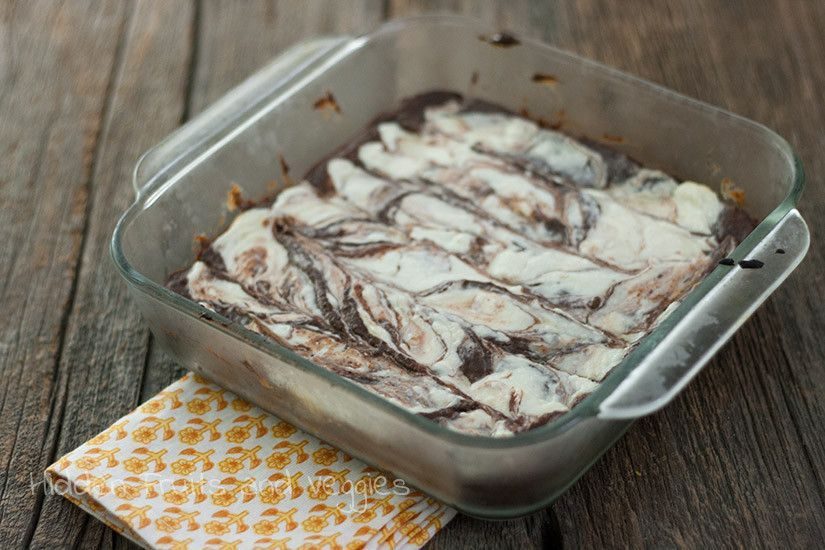Bean Cheesecake Brownies with Hazelnut Liqueur - healthy brownies topped with cream cheese and spiked with a little hazelnut liqueur