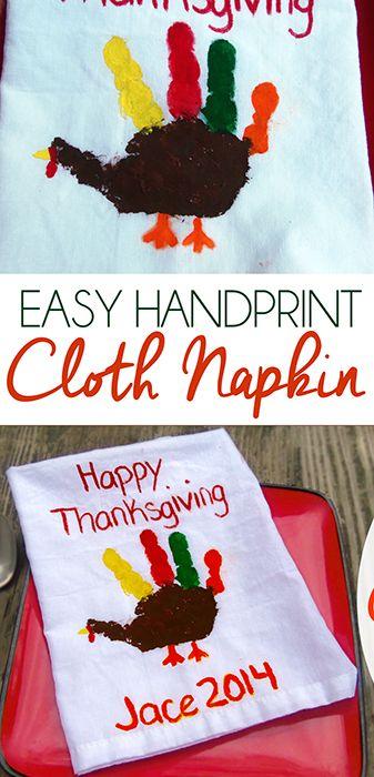 Easy Handprint Thanksgiving Napkin Craft