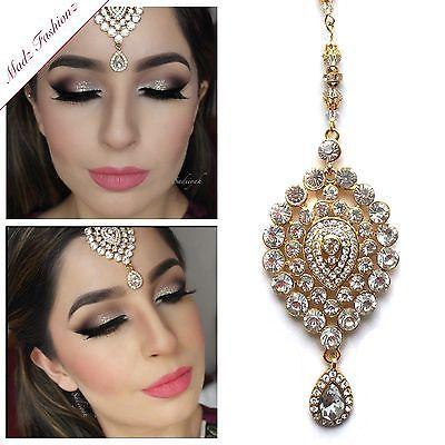 Gold Hair Tikka Sadiiyah indian pakistani asian Forehead jewelry