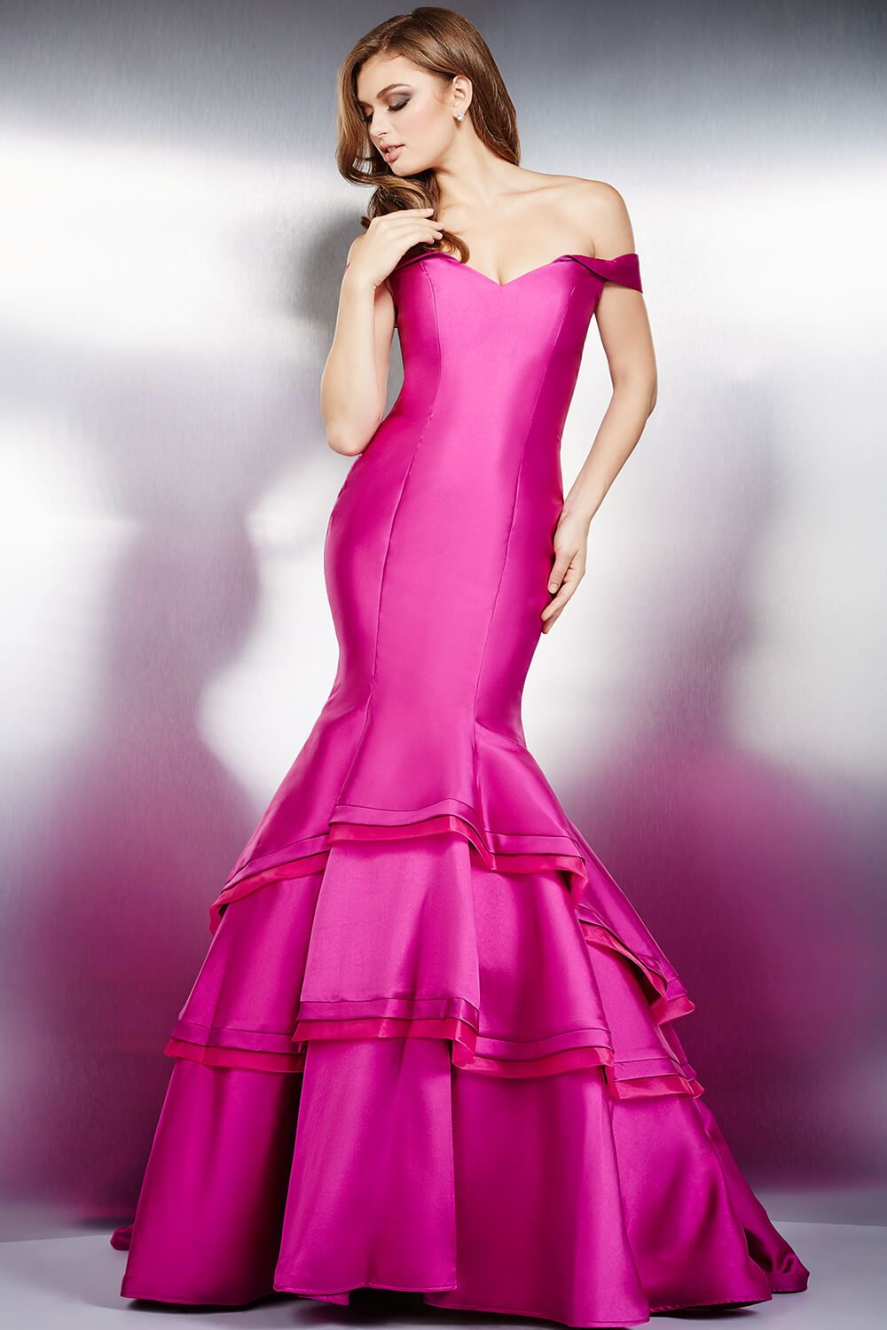 Orchid prom dress by jovani this fitted off the shoulder mermaid