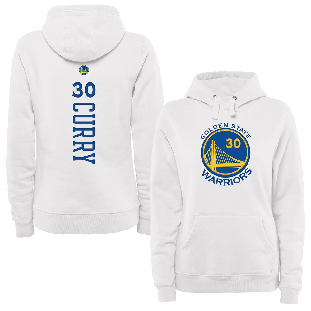 0f556d80f33 Stephen Curry Golden State Warriors Women s White Backer Pullover Hoodie
