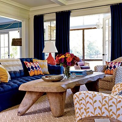 Love The Blue Velvet Couch And Driftwood Table