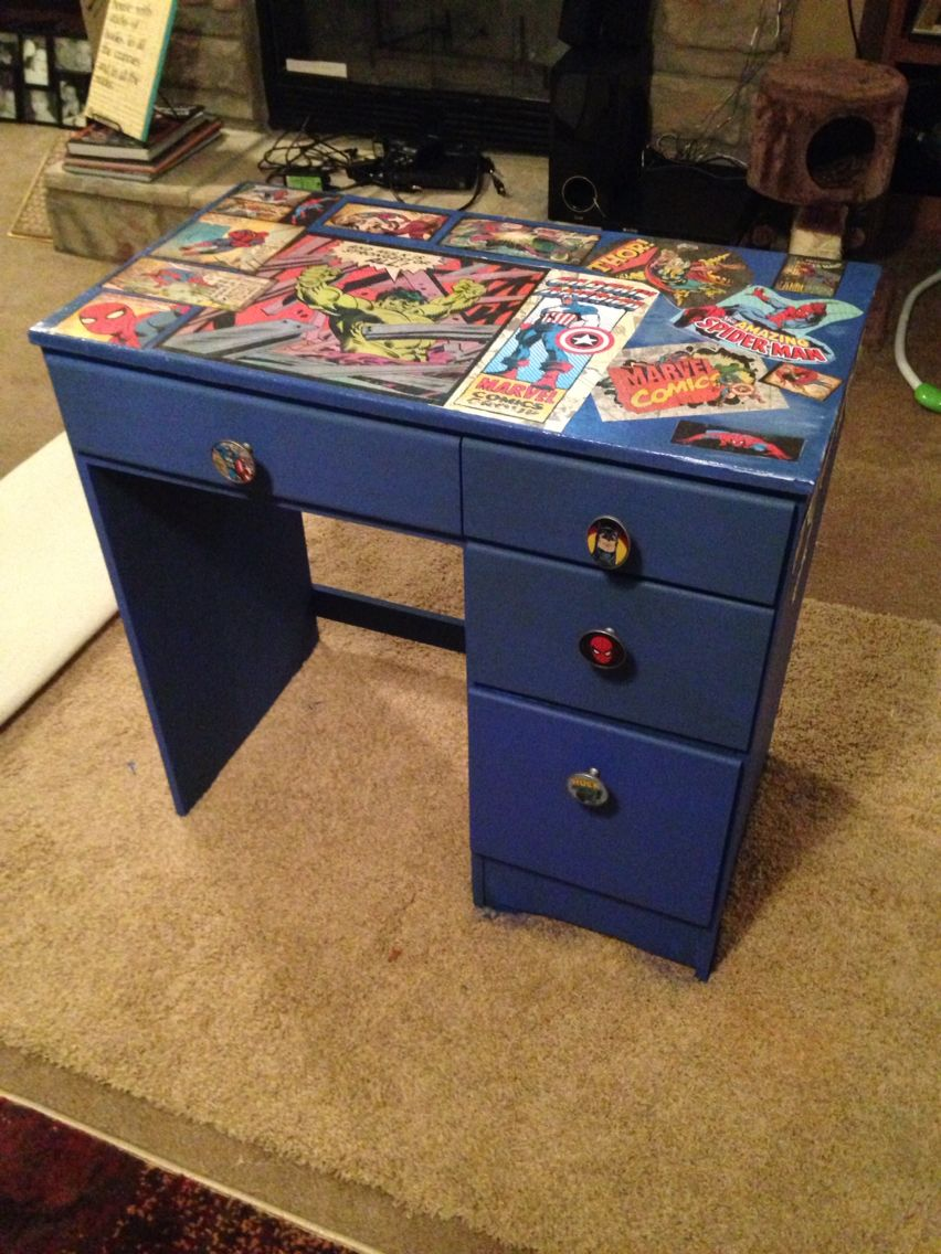 Old desk repainted and mod podged for Alex's room