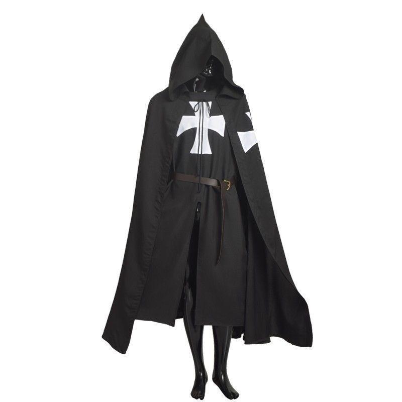 MEDIEVAL WARRIOR LARP Costume White Templar Knights Tunic //CAPE Cross Cloak