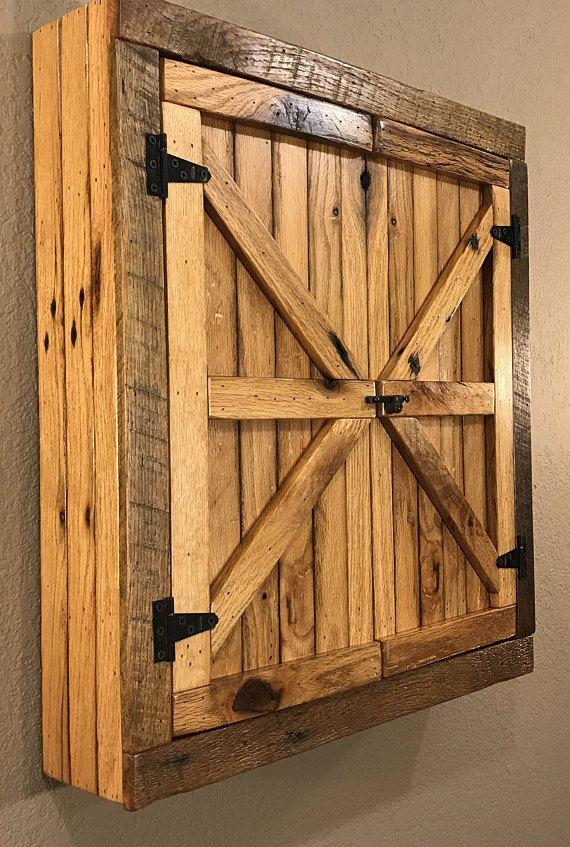 Natural Rustic Dartboard Cabinet – Reclaimed Barn Wood, Home…