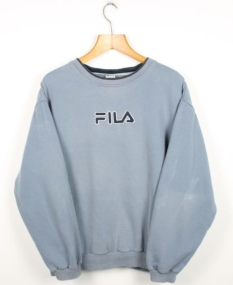 cdbe092239ee FOR SALE  Vintage FILA Big Logo Blue Sweatshirt Jumper