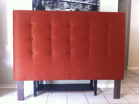 Queen or Full Size Button Tufted Headboard Headboard is 55 h x 3 d    Geneva Terracotta linen fabric    Tufted with 15 buttons we can add buttons for an
