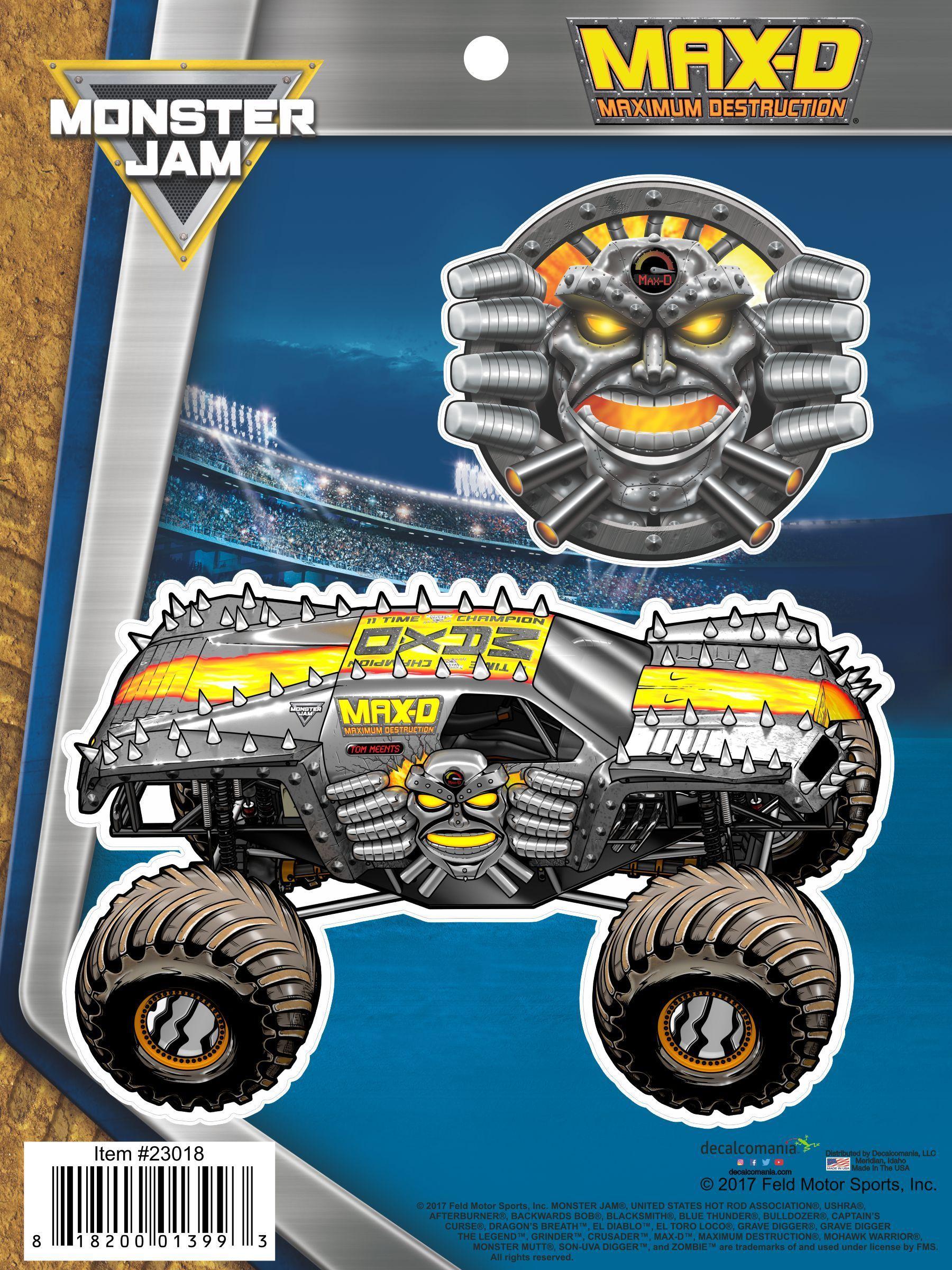 Monster Jam Max D Maximum Destruction Truck Decals Monster Jam Monster Jam