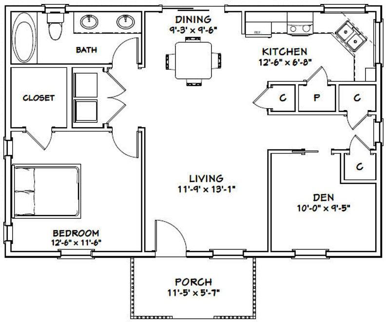36x24 House 1 Bedroom 1 Bath 864 Sq Ft Pdf Floor Plan Etsy In 2020 House Plan With Loft Small House Plans Floor Plans