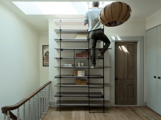 loft ladders for small spaces | Cool Bookcase Ladder For Small ...