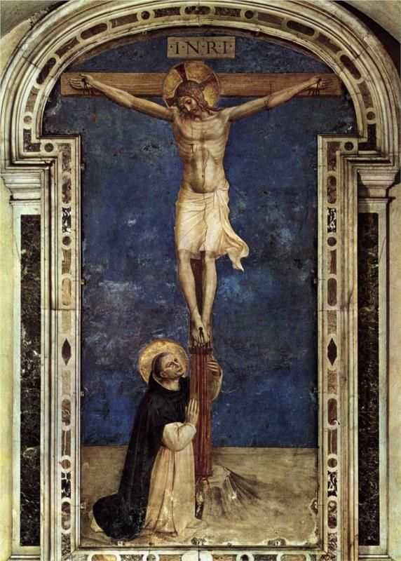 Santo Domingo, adoración del crucificado - Fra Angelico- fresco ...