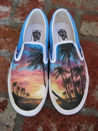 Hand painted City and Beach Converse