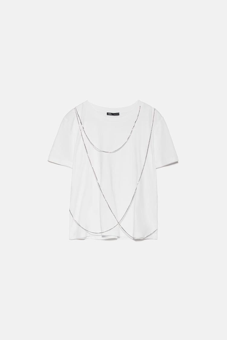 Parlak Taşli Zincirli T Shirt Zara Türkiye Turkey Clothes Fashion Shirts