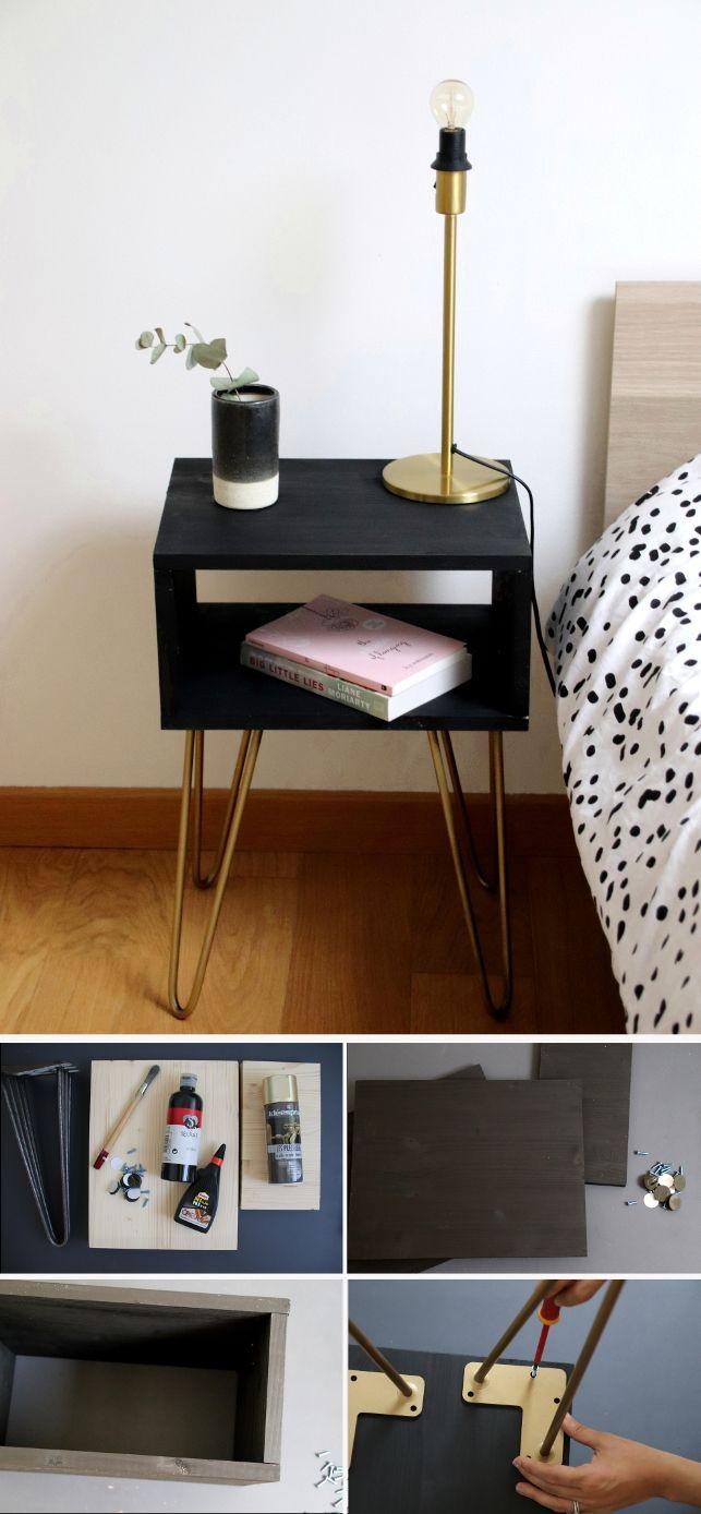 diy la table de chevet aux pieds compas my diy on the blog pinterest chevet table de. Black Bedroom Furniture Sets. Home Design Ideas